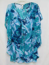 Laundry by Design Womens M 100% Polyester Sheer Blue Tie-Dye Poncho Scarf Blouse