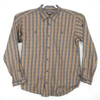 Patagonia Mens L Large Brown Plaid Organic Cotton Button Up Long Sleeve Shirt