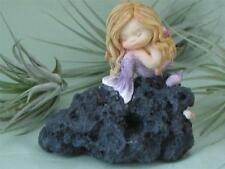 LITTLE BABY BLOND MERMAID SLEEPING ON ROCK Shells Fairy Garden Top Col FREE SHIP
