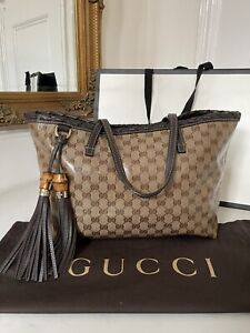 100% AUTHENTIC Gucci GG Supreme Brown Coated Tote Shoulder Leather Bag