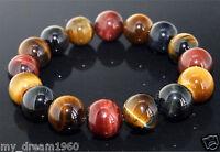 Natural Jewelry 10MM Colorful Tiger Eye Stone Gemstone Beads Bracelet Bangle