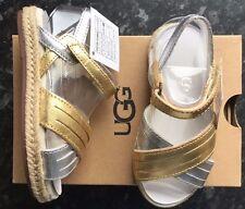 Girls UGG sandals Addilyn Metallic Gold/Silver Size Kids UK 10 BNIB