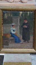 ANTIQUE 19C OLD MASTER DUTCH OIL ON CANVAS PAINTING IN  PERIOD FRAME, SIGNED