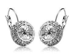 Cristallo austriaco gioielli Diamond Shine Argento e Bianco Cerchio Orecchini E406