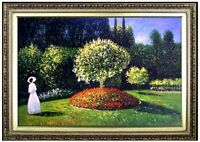 Framed Hand Painted Oil Painting Repro Claude Monet Jeanne in the Garden 24x36in