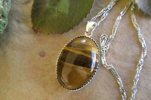Tigers eye oval pendant necklace sterling silver tigers eye necklace jewellery.