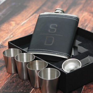 Personalised Black Hip Flask Set 4 cups 7oz - Gift Box, DAD GRANDAD SON BROTHER