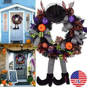 Halloween Door Wreath Garland Props Pumpkin Witch Outdoor Yard Decor Party USA