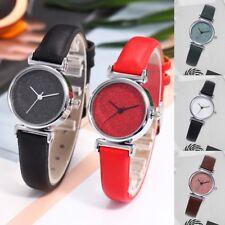 Elegant Starry Sky Dial Watch Women's PU Leather Strap Analog Quartz Wristwatch