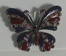 Silver Plate Unusual Purple Enamel U0026 Crystal Butterfly Pin Brooch