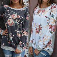 New Womens Ladies Long Sleeve Sweatshirt Blouse Tops Floral Loose Casual T Shirt
