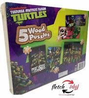 Cardinal Brand / 5 Teenage Mutant Ninja Turtles Wood Puzzles w/Storage Box NIB