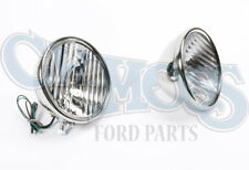 FORD MODEL A 1928-29 HEADLIGHTS W/ FLUTED LENS 6 VOLT 2 BULB REFLECTOR
