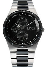 Bering Mens 32339-742 Ceramic Black Dial Silver Stainless Steel Band SS Watch