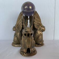 Vintage Brass Metal 3 Winged GARGOYLES Mythical Fantasy Sculpture COOL Decor!