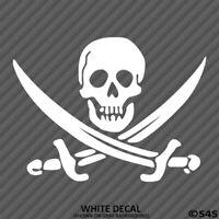 Jolly Roger Pirate Flag Skull & Swords Vinyl Decal Sticker - Choose Color