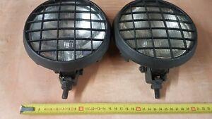 Pair Classic Vintage car spot lights B E11 35 + mesh lamps glass c 80-90s