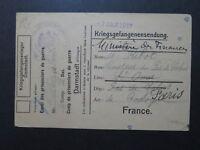 Germany 1917 Darmstadt POW Card to France - Z9717