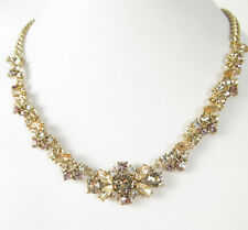 $88 Givenchy Gold Tone Crystal Cluster Collar Necklace NEW