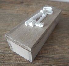 WOOD FREESTANDING KEY BOX HINGED WITH LID RUSTIC STYLE