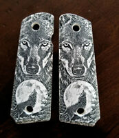 1911 custom engraved ivory scrimshaw grips Howling Wolf Moon