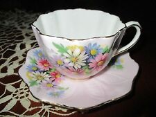PARAGON BONE CHINA TEA CUP & SAUCER SET PINK with DAISIES MADE IN ENGLAND