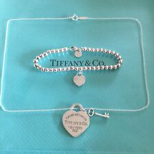 Tiffany & Co. Return To Heart Tag Set Necklace Bead Bracelet Authentic. New. Key