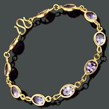 Brass Cubic Zirconia 18K Yellow Gold Plated Purple Amethyst Oval Tennis Bracelet