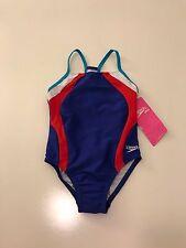 NWT Speedo Girls RacerBack One Piece Red/White/Blue Swimsuit, Size 5