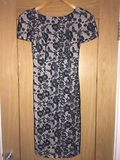 Womens TOPSHOP Beige Body Con Dress With Black Lace Overlay Sz 8 Bnwot NEW