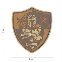 Morale Patch 3D PVC Knight shield brown AIRSOFT  crusader  12047