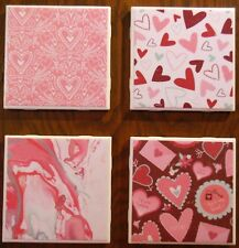 Coasters Set Valentines Day Cup Holders Bar Drinks Ceramic Gift Handmade Decor