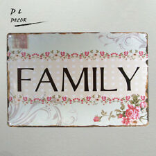 DL-Vintage Retro Floral Letter FAMILY Tin Sign Metal Plaque Home Wall Decor