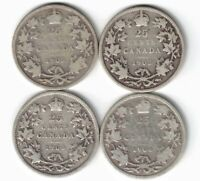 4 X CANADA 25 CENTS QUARTERS KING EDWARD VII STERLING SILVER COINS 1902 - 1904