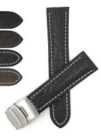 Bandini Leather Watch Band, Deployment Watch Strap, 18mm, 20mm, 22mm, 24mm