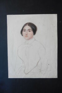 FRENCH SCHOOL 19thC - PORTRAIT OF A YOUNG WOMAN - CHARCOAL-PASTEL DRAWING