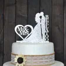 Personalized Name Wedding Cake Topper Wedding Decoration Acrylic Silver Glitter