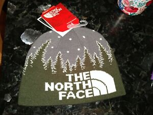 The North Face Youth Anders Beanie Small Forest Green Glow In The Dark NWT