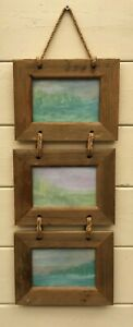 Three Hanging natural wood Picture Frames