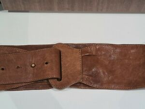 WITCHERY RUSTIC LEATHER SOFT BELT - BROWN - S/M