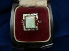 Rare Art Deco 10K Gold Antique Opal 8 x 10mm & Rubies Sz 6.75 WOW