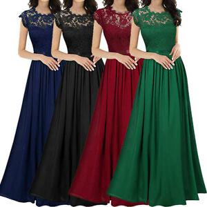 Women Ladies Sexy Lace Party Prom Dress Lace Chiffon Bridesmaid Long Dress UK