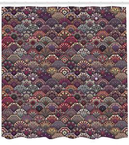 "Moroccan Shower Curtain Retro Ornate Mandala Print for Bathroom 84"" Extralong"
