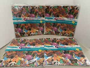 4 Vintage Cleo gift wrap Bears & Balloons wrapping paper birthday 8.3 Sq Ft NOS