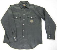 men's HARLEY DAVIDSON Leather Shirt L XL Large BLACK Embroidered SNAP UP Pockets