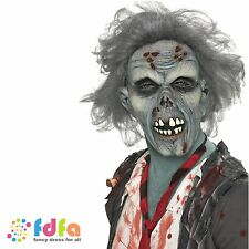 DECAYING ZOMBIE LATEX MASK GREY HAIR -- halloween mens ladies fancy dress