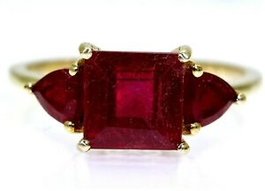 Stunning Ruby Trilogy 9ct Yellow Gold Ring size N ~ 6 3/4