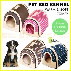 Pet Dog Cat House Kennel Soft Igloo Bed Cave Puppy Doggy Bed Warm Cushion Beds