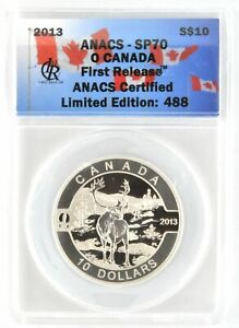 2013 O Canada $10 ANACS SP70 Silver Coin Caribou First Release Limited 488