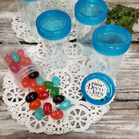10 Clear PP Plastic Pill Bottles JARS See Thru Aqua Screw LIDS Container #3814